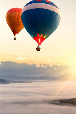 iPhone Wallpaper Hot air balloon, sunrise, sky, fog, morning