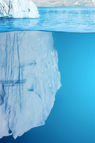 iPhone Wallpaper Icebergs, blue sea, underwater
