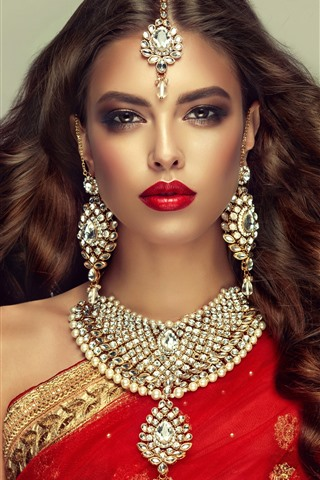 iPhone Wallpaper Indian girl, fashion, hairstyle, necklace, earring