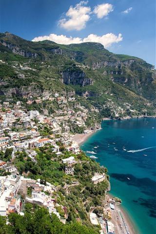 iPhone Wallpaper Italy, Positano, city, houses, sea, mountains
