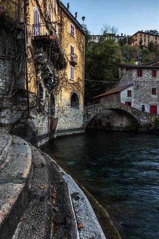 iPhone Wallpaper Italy, ladder, river, bridge, village
