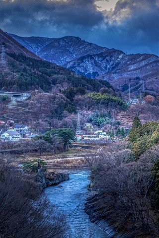 iPhone Wallpaper Japan, mountains, trees, village, river