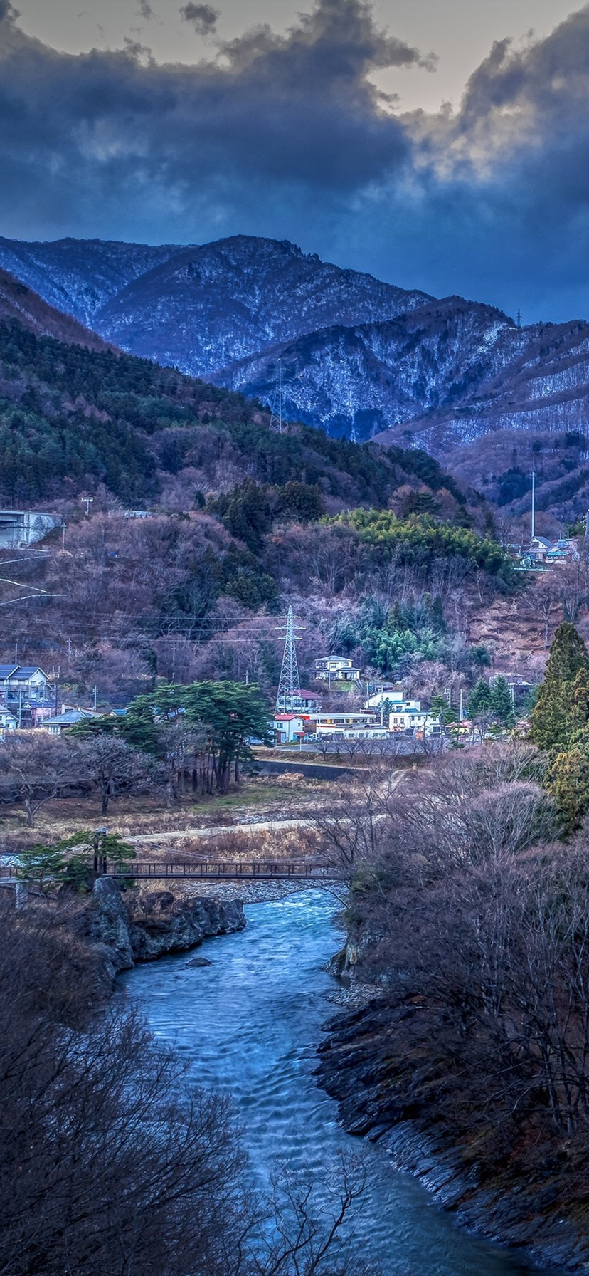 Japan Mountains Trees Village River 828x1792 Iphone 11 Xr