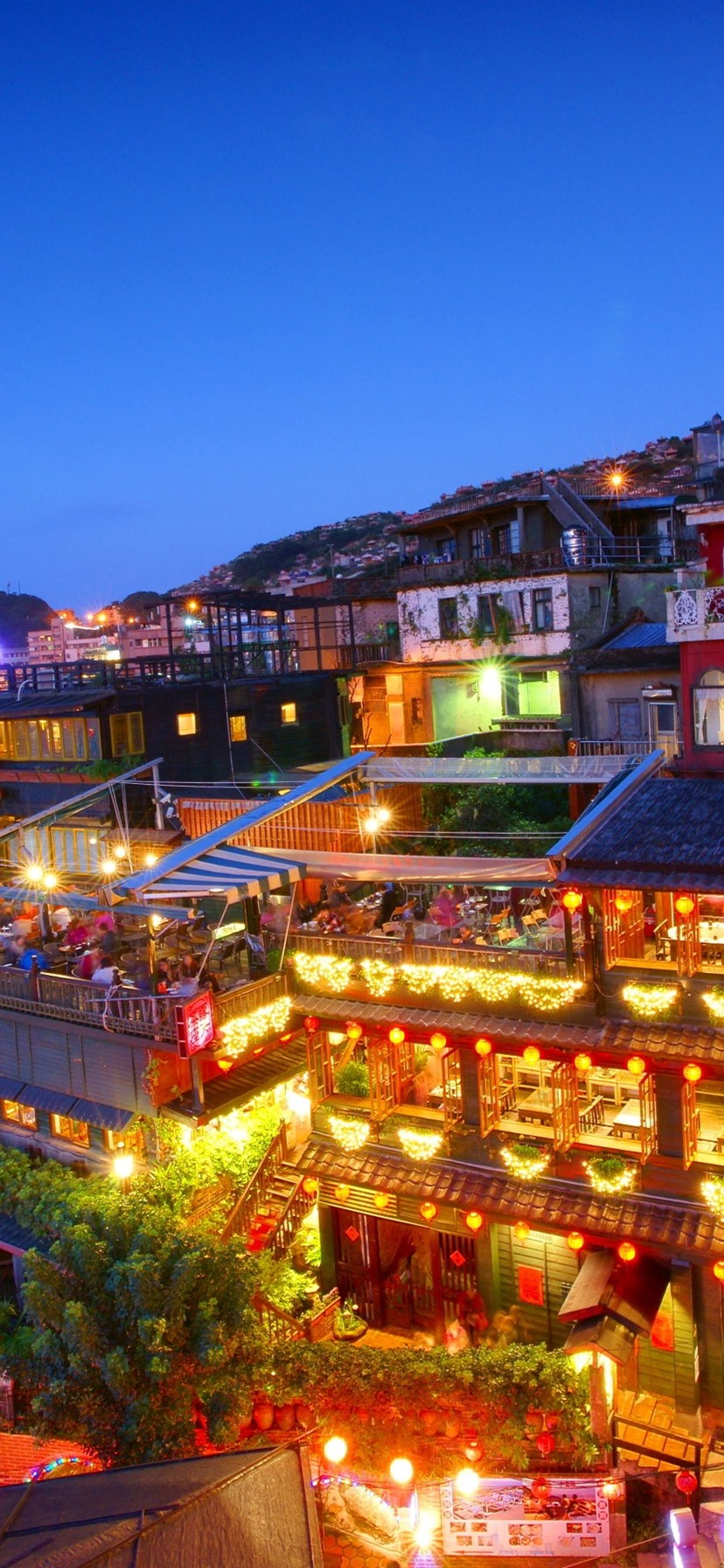 Jiufen Taipei Night City Lights Taiwan 828x1792 Iphone