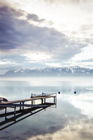 iPhone Wallpaper Lake, dock, mountains, clouds