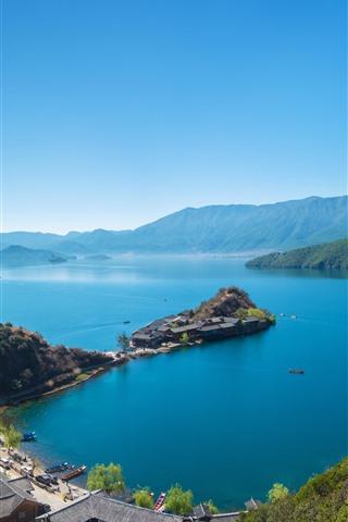 iPhone Wallpaper Lake, island, mountains, town