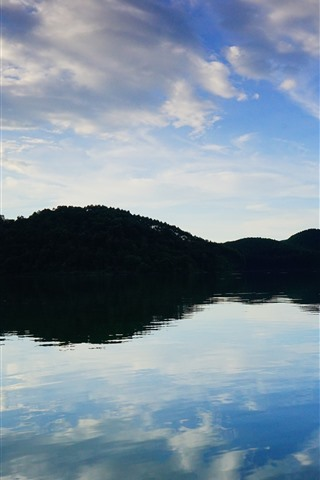 iPhone Wallpaper Lake, mountains, blue sky, water reflection