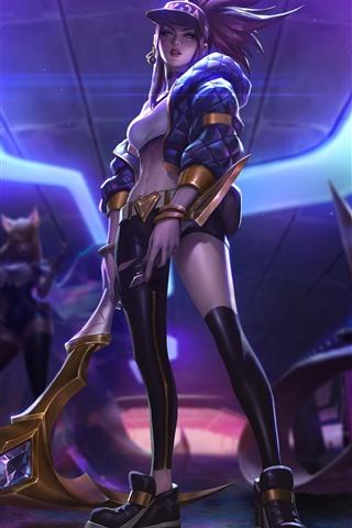 iPhone Wallpaper League of Legends, purple hair girl, cap