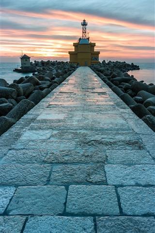 iPhone Wallpaper Lighthouse, path, rocks, sea