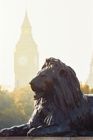 iPhone Wallpaper Lion statue, London, England