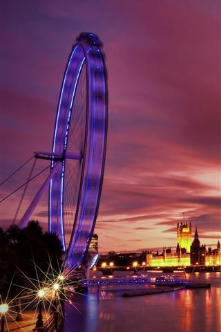 iPhone Wallpaper London, ferris wheel, river, boats, night, lights, UK