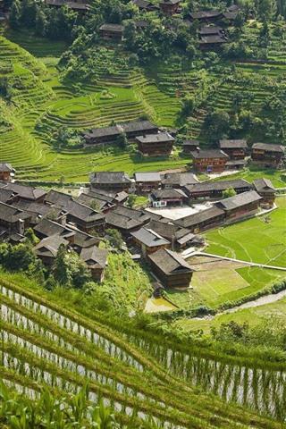 iPhone Wallpaper Longsheng, Guangxi, China, village, hills, rice terrace