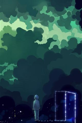 iPhone Wallpaper Magic space, clouds, stars, boy, door, art picture