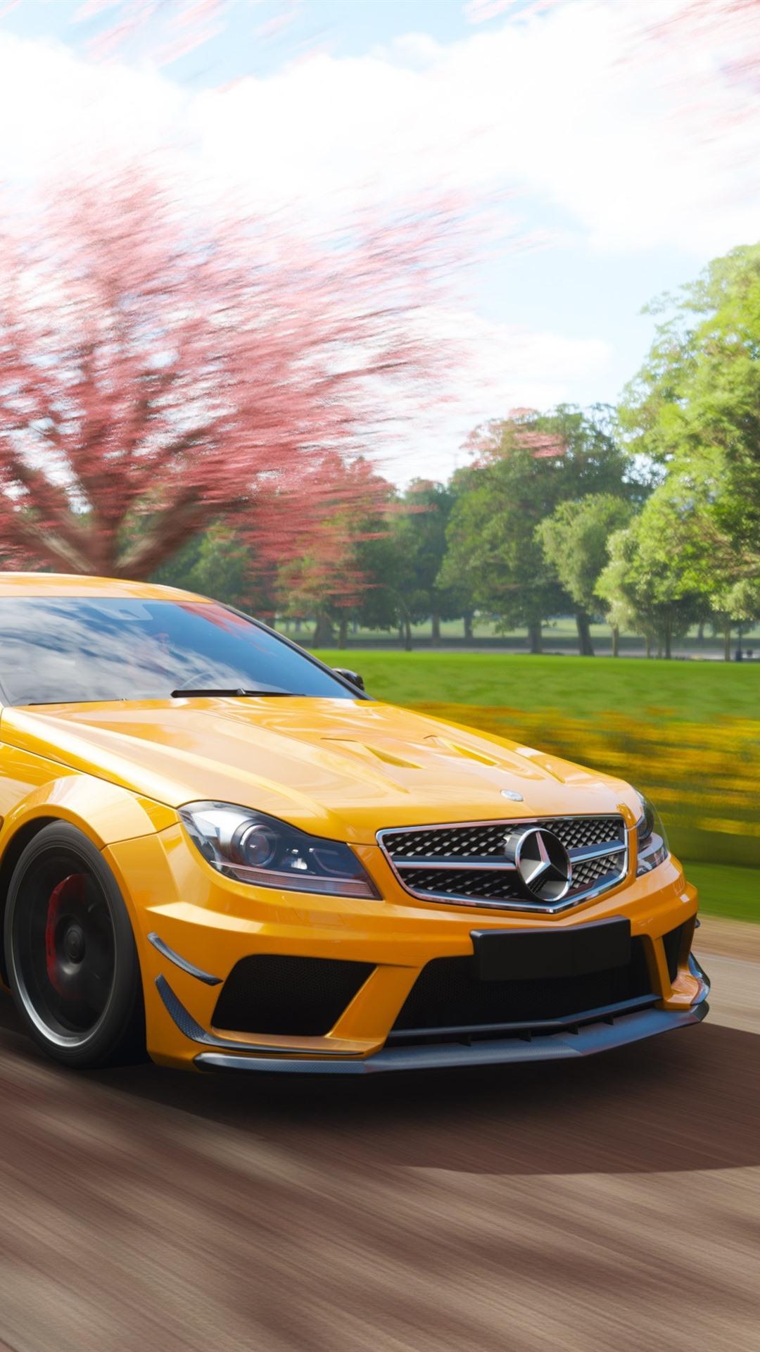 Mercedes Benz Amg C63 Gelbes Auto Geschwindigkeit Forza