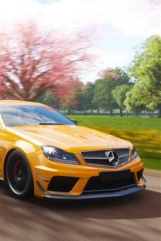 iPhone Wallpaper Mercedes-Benz AMG C63 yellow car, speed, Forza Horizon