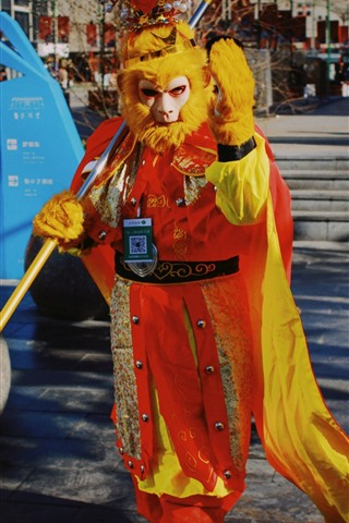 iPhone Wallpaper Monkey King, cosplay, street