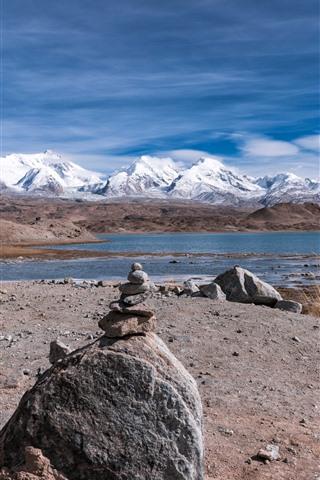 iPhone Wallpaper Mountains, lake, snow, stones, nature landscape