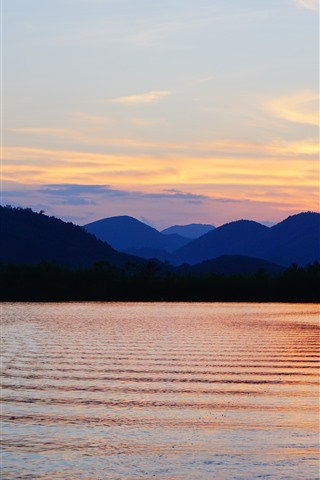 iPhone Wallpaper Mountains, river, sunset, sky, dusk