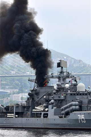 iPhone Wallpaper Navy, destroyer, smoke, river, bridge
