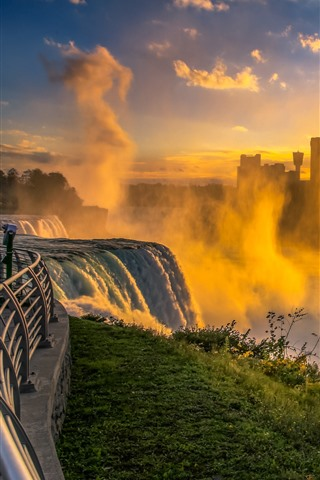 iPhone Wallpaper Niagara Falls, morning, fog, waterfall, city, USA