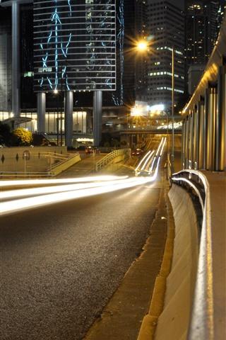 iPhone Wallpaper Night, road, light lines, city, buildings