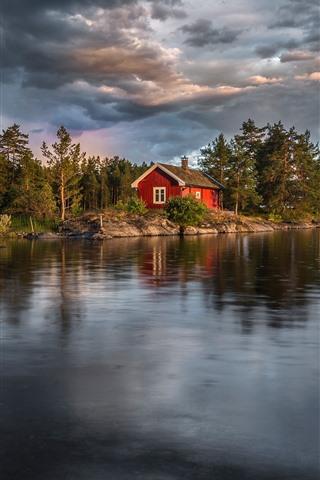 iPhone Wallpaper Norway, lake, trees, house