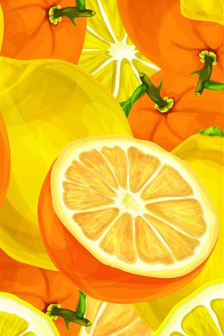 iPhone Wallpaper Oranges and lemons, vector art picture
