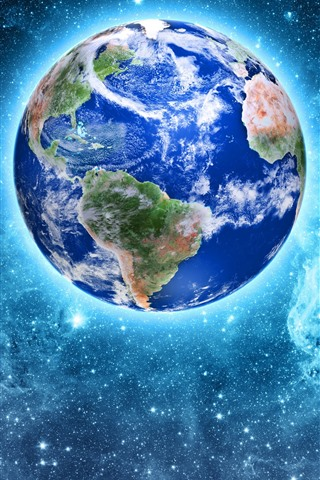 iPhone Wallpaper Our beautiful planet, Earth, glow, stars, space