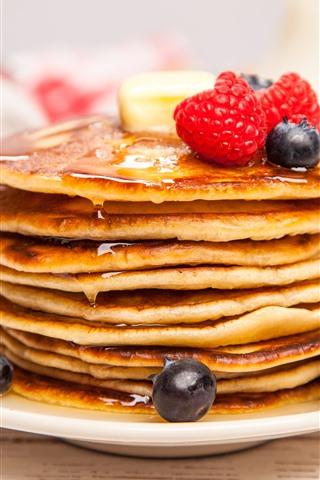 iPhone Wallpaper Pancakes, blackberries, strawberries, food