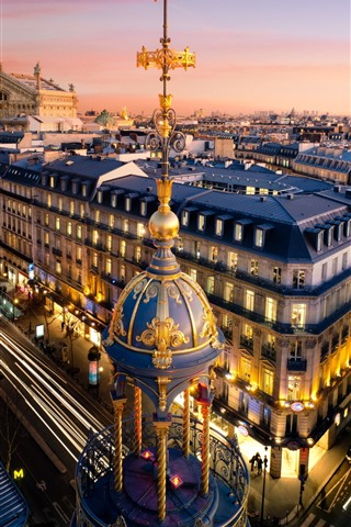 Paris City Street Houses Dusk Lights France 828x1792 Iphone 11 Xr Wallpaper Background Picture Image