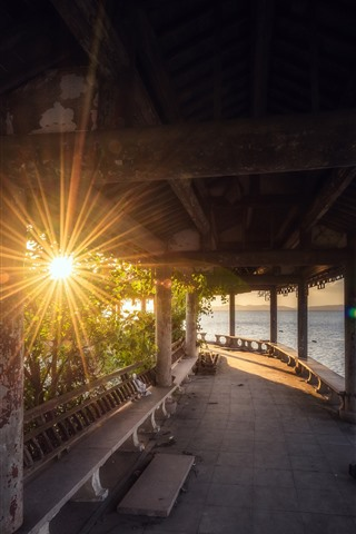 iPhone Wallpaper Park, sun rays, lake, corridor, China