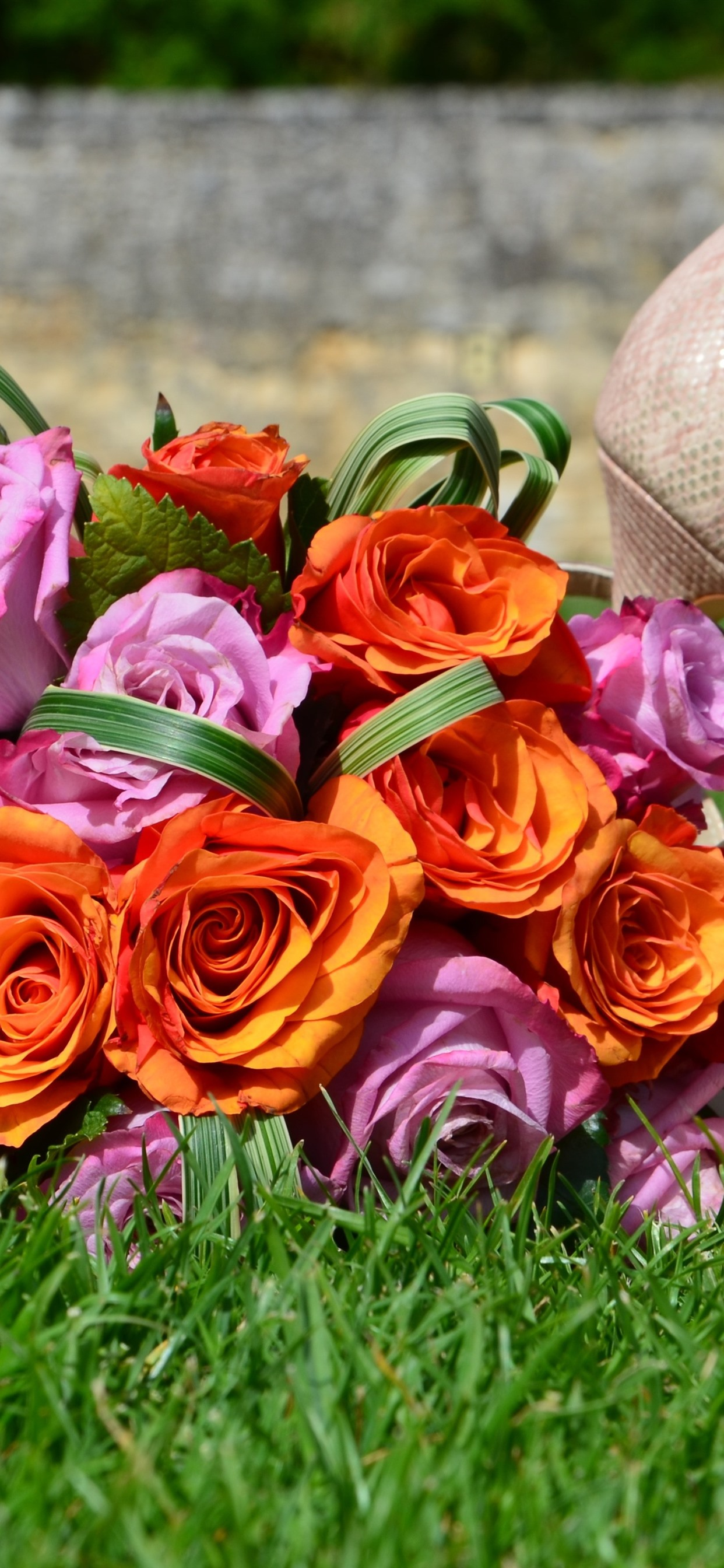 Pink And Orange Roses Shoes Grass 1242x2688 Iphone 11 Pro Xs Max Wallpaper Background Picture Image