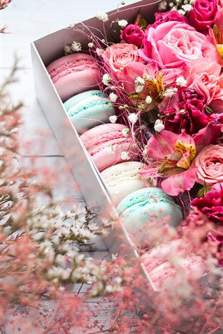 iPhone Wallpaper Pink flowers and macaron, gift