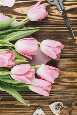 iPhone Wallpaper Pink tulips, bouquet, hands, flowers