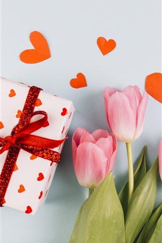 iPhone Wallpaper Pink tulips, gift, love hearts, romantic