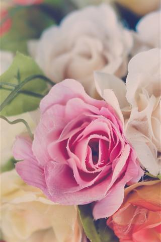 iPhone Wallpaper Plastic roses, flowers, hazy