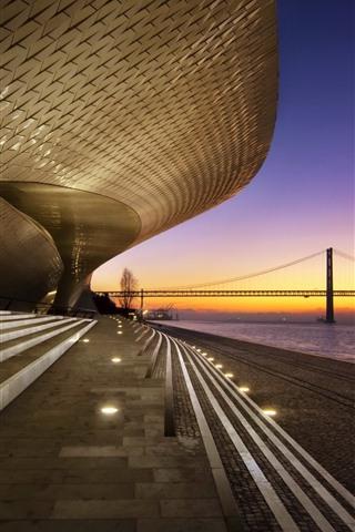 iPhone Wallpaper Portugal, Lisbon, buildings, stairs, river, bridge, dusk