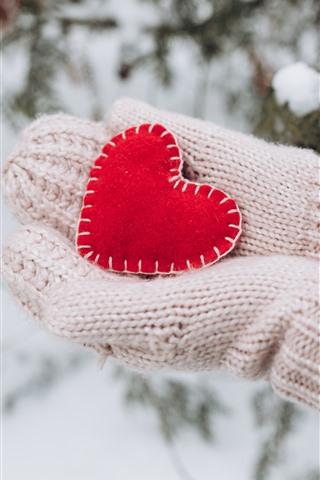 iPhone Wallpaper Red love heart, hands, gloves, winter