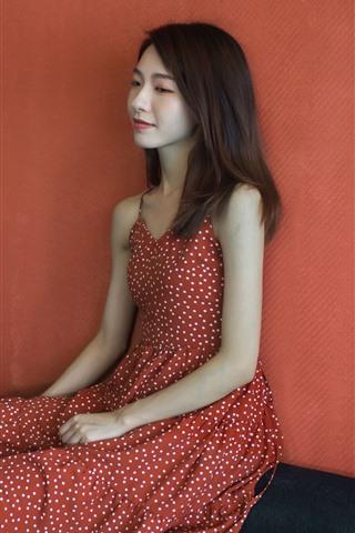 iPhone Wallpaper Red skirt Asian girl, sit, room