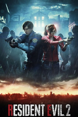 iPhone Wallpaper Resident Evil 2 Remake, PS4 game, rain, zombies