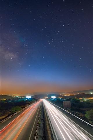 iPhone Wallpaper Road, light lines, city, starry, sky, night
