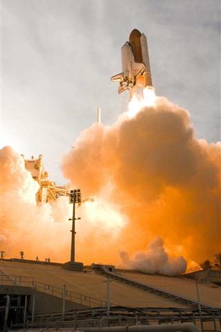 iPhone Wallpaper Rocket launching, smoke