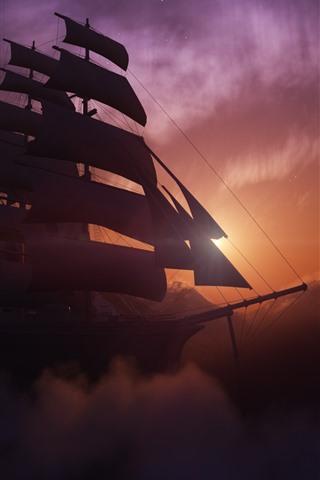 iPhone Wallpaper Sailboat, mountains, sunset, clouds, fog, dusk, creative design