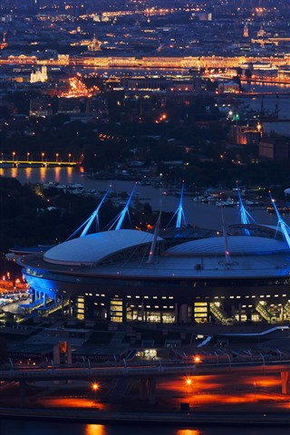 iPhone Wallpaper Saint Petersburg, stadium, night, city, Russia