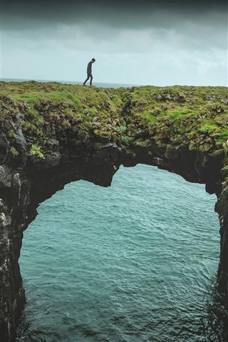 iPhone Wallpaper Sea, arch, nature bridge, man