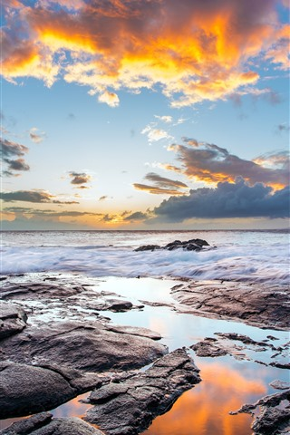 iPhone Wallpaper Sea, clouds, waves, dusk, nature landscape