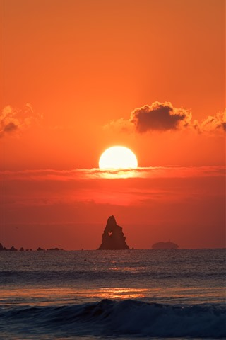 iPhone Wallpaper Sea, sunset, red sky, sun, rocks