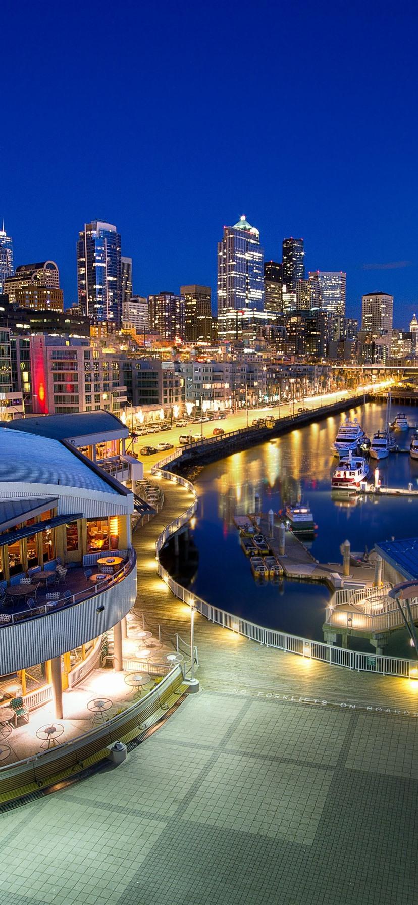 Wallpaper Seattle Night City Pier Boats Lights Usa