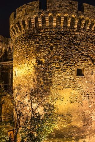 iPhone Wallpaper Serbia, Belgrade Fortress, night, lights