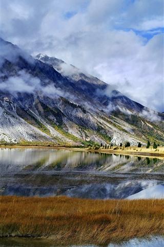 iPhone Wallpaper Sichuan-Tibet Line, Ranwu, mountains, clouds, lake